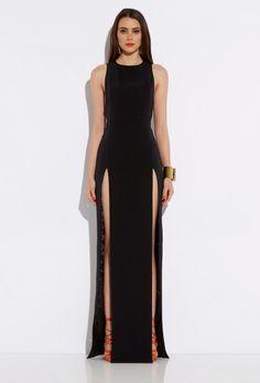 Image 1 of AQ/AQ Lexi Black High Double Slit Maxi Dress  