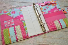 3 Ring Binder Cover in Aqua and Pink Owl fabric Book Binder, Ring Binder, Bullet Journal Ideas, Binder Covers, Binder Inserts, Journal Covers, Paper Ring, Sketchbook Cover, Owl Fabric
