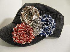 Distressed Black Hat, Military Hat, Cadet Hat, Stripes  Rhinestones,  Bling Hat, Womens Hat, Girls Hats, Teen, Black Hat on Etsy, $23.00