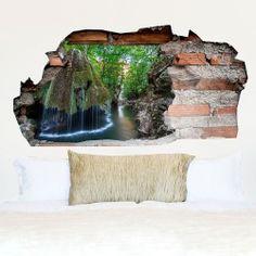 Adesivo da muro 3D in vinile Foresta con cascata