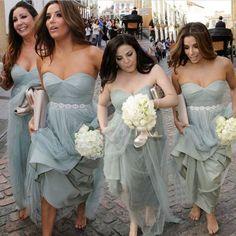 Light Grey Bridesmaid Dresses Sash