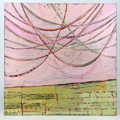 String Theory in Pink by Barbara Gilhooly. Through many layers of paint and sanded surface, an intricate series of lines are carved and drawn into the panel to create the string pattern that drapes above the ground.