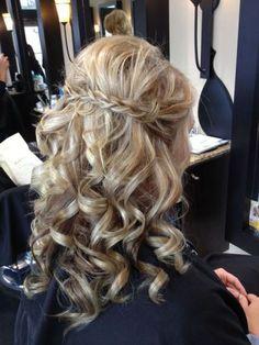 curly wedding hair with braid