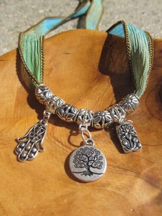 Sand and Sea Silk Wrap Bracelet with Tree of by DestinyAccessory, $24.00