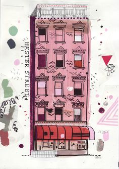 "#houseofillustration | ""Hester Street"" $200. An attempt to draw all the buildings in New York by James Gulliver Hancock,   an illustrator originally from Australia currently based in Brooklyn, New York."