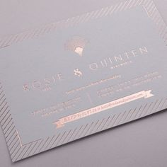 Eagle Eyed Bride - Portofino Invitation, Rose Gold foil on Mink Grey Board