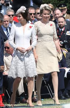 Catherine, Duchess of Cambridge and Queen Mathilde of Belgium during a ceremony at the Commonwealth War Graves Commisions's Tyne Cot Cemetery on July 31, 2017 in Ypres, Belgium.