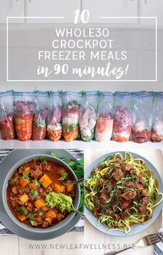 10 Whole30 Crockpot Freezer Meals in 90 Minutes (free recipes and shopping list). I made these and loved them!!