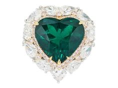 6.86ct Heart Shape Colombian Emerald Cluster Ring With Natual Pink Diamond Accents