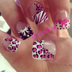 Black & White tip French manicure nails with hot pink leopard and polka dots and free hand pink bows nail art Get Nails, Fancy Nails, Love Nails, How To Do Nails, Pretty Nails, Hair And Nails, Crazy Nails, Dream Nails, Do It Yourself Fashion