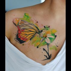 Fun today!!) #watercolor #watercolortattoo #art #aquarelle #artist #amazingink #artoftheday #tat #tatts #tattoo #color #colorgram #ink #inked #inkedup #instacolor #inkmachines #instacolorful #photooftheday #butterflytattoo #cute #colorworld #yellow #multicolor #love
