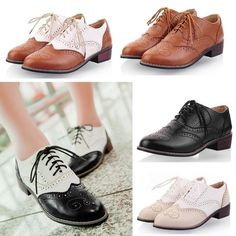 Vintage New Womens Shoes Lace Up Brogues Girls College Oxford Low Flat Heels #new #Oxfords