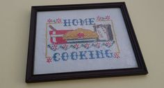 80s Cross Stitch Wall Hanging/ Home Cooking Cross by DameWhoFrames