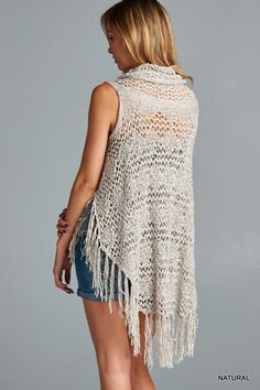 Crochet Vest - Natural - Knitted Belle Boutique  - 3