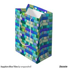 Sapphire Blue Tiles Medium Gift Bag