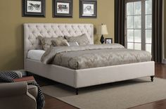 California King Bed CS300403KW Description : Outfit your bedroom with this beautiful upholstered bed. With a modern styling, it features a grandly-scaled headboard and footboard that are upholstered in a beige microvelvet. Truly a bold centerpiece for any bedroom, this bed is accented with button tufting on both the headboard and footboard, and exposed wood feet add additional detail to please. Features : Color : Oatmeal Foundation : Box/Mattress Ready Upholstery Color : Oatmeal Like Linen…