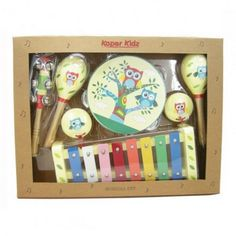 An owl themed musical set containing a xylophone, tambourine, 2 maracas, 2 castanets and a bell stick.