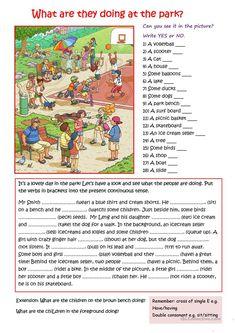 At the Park worksheet - Free ESL printable worksheets made by teachers