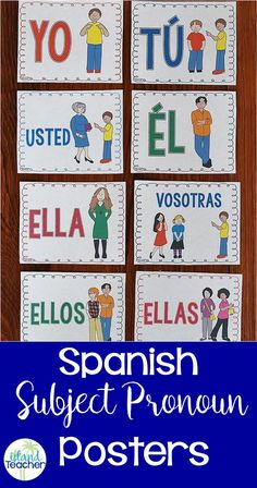 Spanish Subject Pronoun Posters. Includes all subject pronouns in 2 versions (color and black/white)