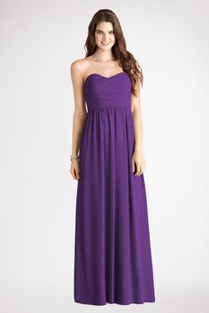 Subtle ruching highlights this flowy strapless  sweetheart Perfect Plum chiffon  dress  with  a  floor length skirt.