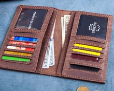 Wallet Leather Wallet Personalized Leather por RockyLeatherDesign