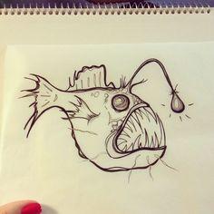 Angler fish tattoo by Stacy Stranzl Fish Drawings, Animal Drawings, Art Drawings, Graffiti, Nordic Tattoo, Sleeve Tattoos, Owl Tattoos, Tattoo Ink, Fish Tattoos
