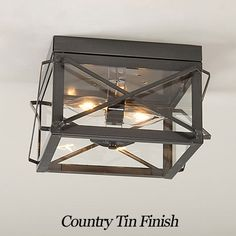 Everything Primitives - Double Ceiling Light with Folded Bars, $107.95 (http://www.everythingprimitives.com/double-ceiling-light-with-folded-bars/)