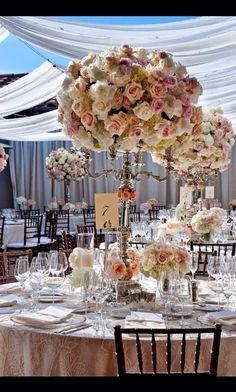 Pastel peach flower table arrangement