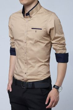 Khaki Cotton Squared-Off Collar Classic Mens Shirt