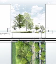Plan coupe sur lespace public Plus Landscape Diagram, Landscape Model, Landscape Architecture Design, Landscape Plans, Architecture Drawings, Architecture Plan, Urban Landscape, Design 3d, Plan Design