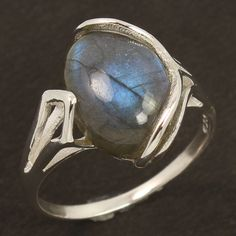 Charming Ring Size US 8.75 Natural Fire LABRADORITE Gemstone 925 Sterling Silver #Unbranded