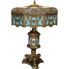 Huge Fabulous Empire 26 Panel Cupid & Flower Basket Bump Slag Glass Lighted Base Lamp  found at www.rubylane.com @rubylanecom
