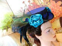 Viktorianischer Mini Hut blau schwarz Damenhut Hat