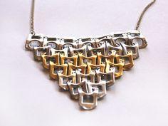 Naszyjnik TRÓJKĄT z zawleczek w bÓ biżuteria na DaWanda.com