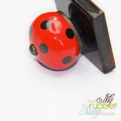 Custom Wood Stamp  LadyBug Premium Exotic by myrubberstamp on Etsy, $38.00