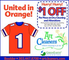 Art Cleaners Super Bowl Special    Art Cleaners is United in Orange and offering a Super Bowl special with this $1 off per piece coupon. Bring this in with your dry cleaning and alterations before the day of the big game to save!