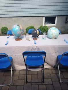 Globe tablescape from our Aloha themed Bon Voyage party for a dear friend