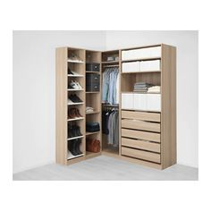 IKEA - PAX, Corner wardrobe, white stained oak effect, 10 year guarantee. Read about the terms in the guarantee brochure. You can easily adapt this ready-made PAX/KOMPLEMENT combination to suit your needs and taste using the PAX planning tool. Buy Wardrobe, Wardrobe Storage, Bedroom Wardrobe, Wardrobe Design, Ikea Pax Corner Wardrobe, Pax Closet, Ikea Closet, Flat Pack Wardrobes, Wardrobes Online