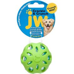 Holes let your dog get a great grip Crunchy plastic bottle material ball inside Plastic makes a crackling noise that dogs love Long-lasting JW dog ball fashioned out of thick-walled heavy duty rubber Indoor dog ball perfect for toss and fetch games Offered in assorted colors – please allow us to select for you