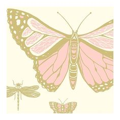 Butterflies & Dragonflies Wallpaper (415 RON) ❤ liked on Polyvore featuring home, home decor, wallpaper, contemporary metallic wallpaper, gold metallic wallpaper, pattern wallpaper, gold home decor and dragonfly home decor