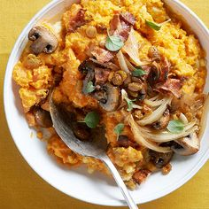 Vitamin-rich sweet potatoes have never tasted better, thanks to a warm mushroom topping and crisp, melt-in-your-mouth bacon! Get the yummy recipe here: http://www.bhg.com/recipes/potato/potato-side-dish-recipes/?socsrc=bhgpin120714mashedsweetpotatoes&page=3