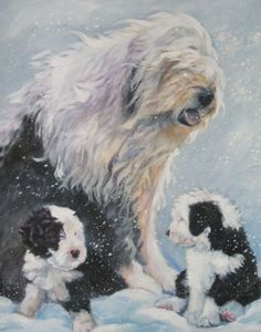 Old English Sheepdog art print CANVAS print of LA by TheDogLover, $39.99