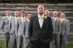 #wedding photography | groom & groomsmen in gray suits and yellow ties | @haasweddings