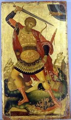 Icon Theodore of Amasea Date: century Dimensions: 122 x 69 cm Creator: Aggelos Byzantine & Christian Museum, Athens Religious Images, Religious Icons, Religious Art, Byzantine Icons, Byzantine Art, Saints And Soldiers, Types Of Armor, Saint George And The Dragon, Russian Icons