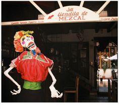 La Calavera Catrina en su tienda de Mezcal, San Cristobal de las Casas, Chiapas,México.   Foto por Rebecca Bewick, Abril 2014. // 35mm film.