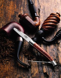 "Forge de Laguiole ""Calumet"" Pipe Tool - Briar wood Handle with Leather Sheath Pipes And Cigars, Cigars And Whiskey, Forge De Laguiole, Cigar Smoking, Smoking Pipes, Tobacco Smoking, Gouts Et Couleurs, Art Of Manliness, Pipe Dream"