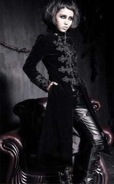 Gothic style coat - Edwardian style  black velour