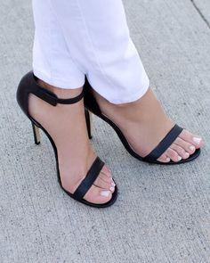 Great black 2 strap black stiletto heel sandals. Minimalist look ...