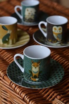 Foxes, Rabbits and Owls! Oh My! Love these saucers and cups!