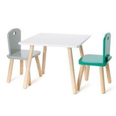 Table carrée naturel/blanc